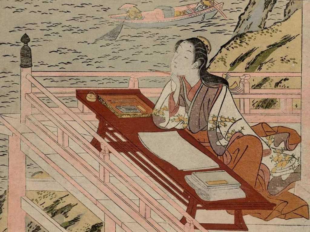 print or writer Murasaki writing on a balcony on her desk