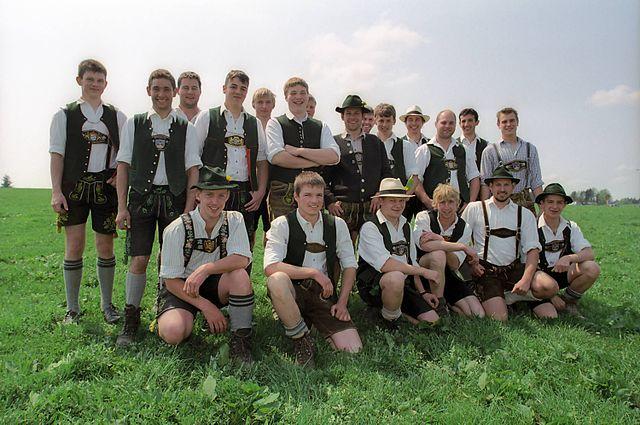 Folk costumes still worn Europe Burschen Ellbach Germany
