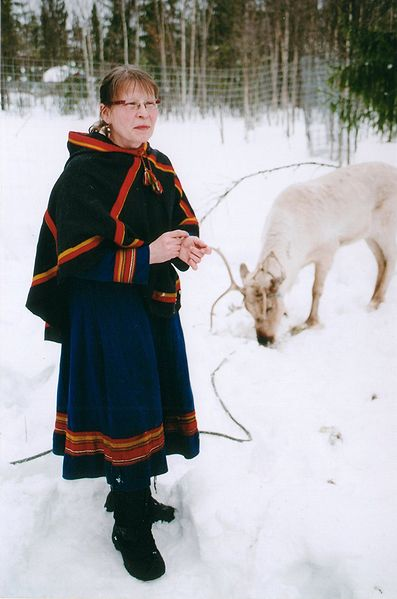 A woman stands in the snow. She wears a blue dress with a red fringe, black boots , and a black-red cape covers her shoulders.
