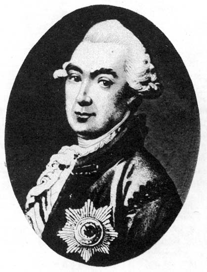 Black and white picture of a painted portrait. A man with a white wig, wearing a dark coat and a big military decoration.
