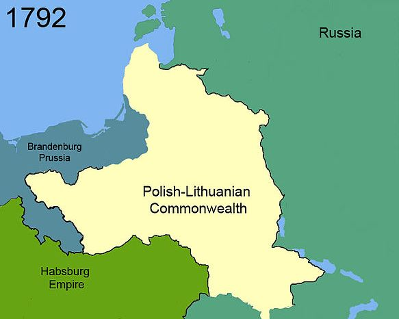 Map of a still large Poland. To the west of Poland are Austria and Prussia. To the east, Russia. Poland separates Russia from the other two.