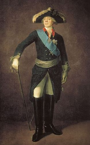 Painted portrait, full figure. A man in military uniform stands. He wears a blue sash and hold a sword in his hand.