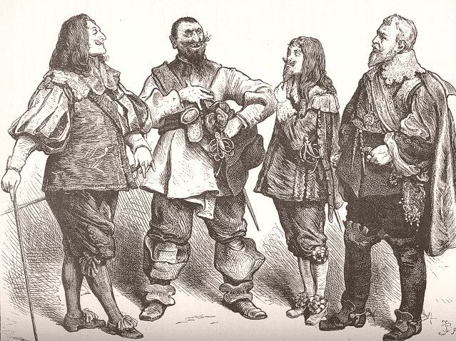 Drawing. Four men with pointy mustaches and beards and dressed in capes stand next to one another.
