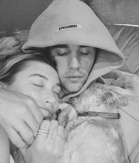 Justin and Hailey cuddling