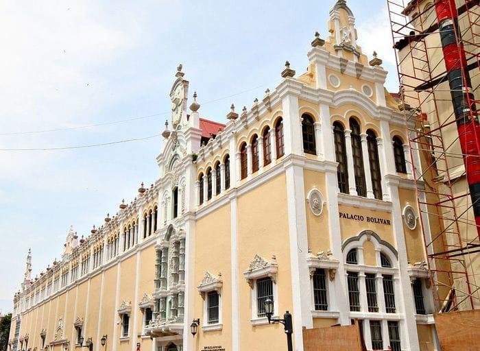 The facade of a palace
