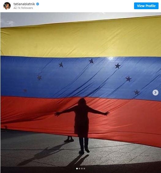 A huge Venezuelan flag