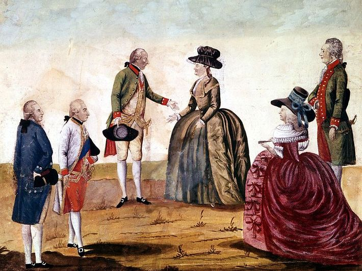 Painting. Catherine meets with the emperor in the middle of nowhere. Four more people accompany them.