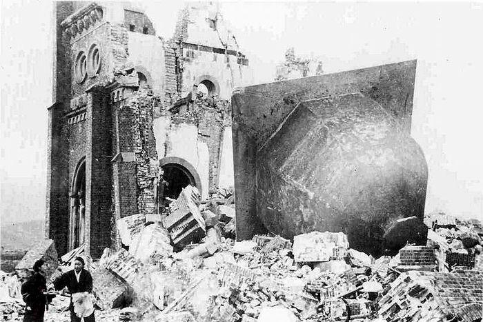 hiroshima nagasaki bombing pictures nagasaki collapsed church 1a