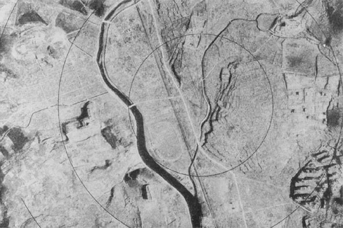 Aerial picture of the same spot. Now it only has the river, the rest has been wiped out.