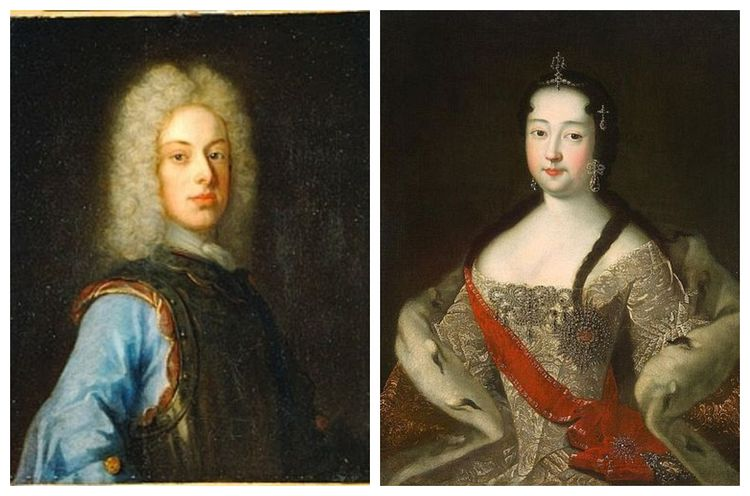 Two portraits. One of a young man with long face. He wears a long, white wig. The other is of a woman with dark hair and roundish face. She wears an elegant dress and a red royal sash.