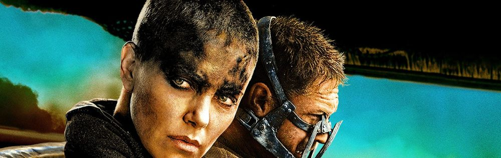 Charlize Theron and Tom Hardy during a scene of the movie Mad Max.