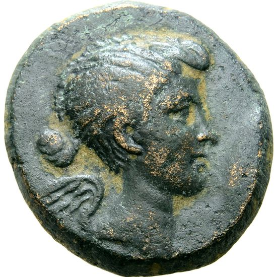 Anotehr coin, same woman, slightly different features. Here her nose is straight and her chin is much rounder.