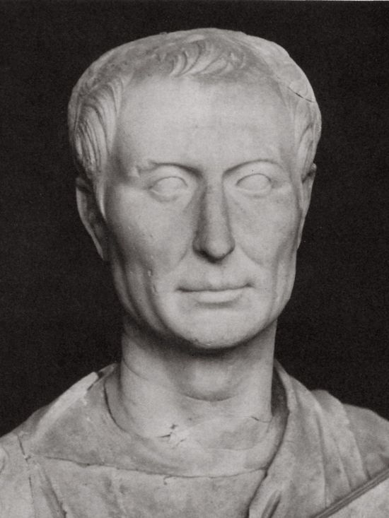 A different white marble bust depicting what seems to be the same man. Here, the nose is thinner and the face is more rectangular. The other features are pretty much the same.
