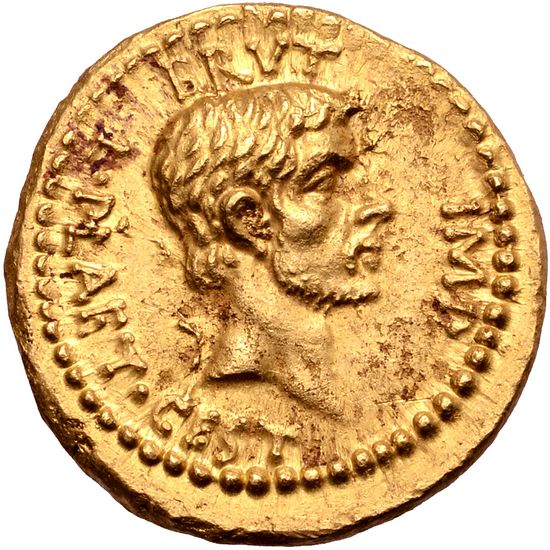 Similar coin, in gold, with beard.