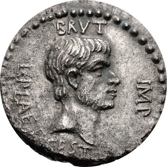 "Similar coin, in this one he is wearing a beard. It read the same ""Brut, Imp."""
