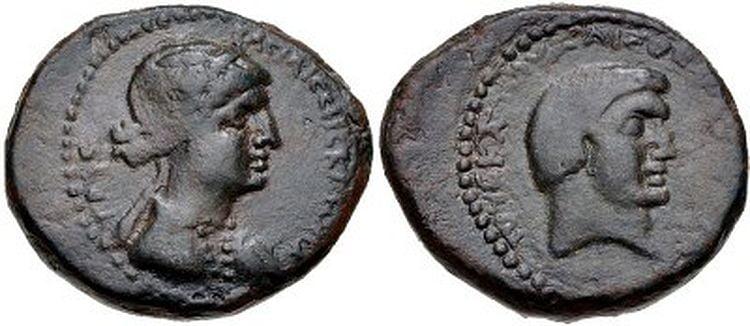 cleopatra coins antony minted chalcis syria 32 31 bc 1 rd