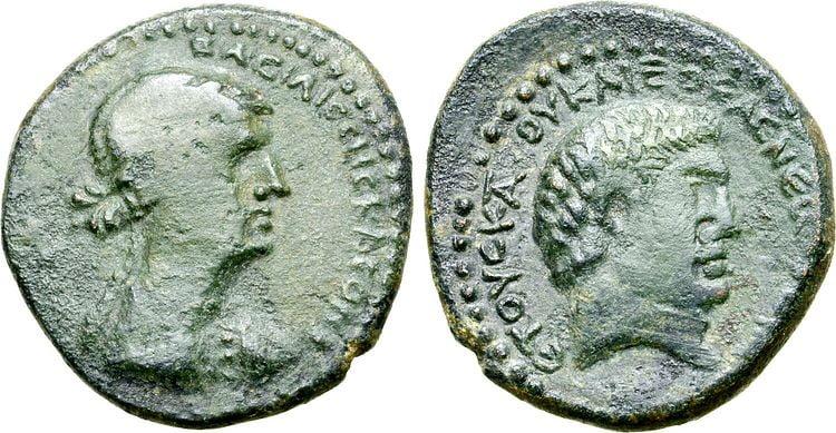 cleopatra coins antony minted chalkis 32 31 bc 2