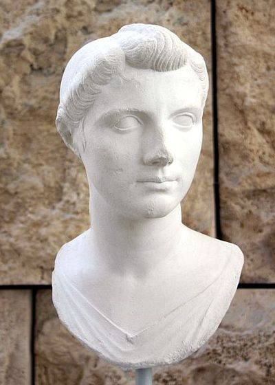 Plaster head of a young woman. She is pretty. Her face is oval-shaped. She has big eyes, as strong, straight nose, medium-sized lips, and a rounded chin. She wears her hair back in a complex hairdo.