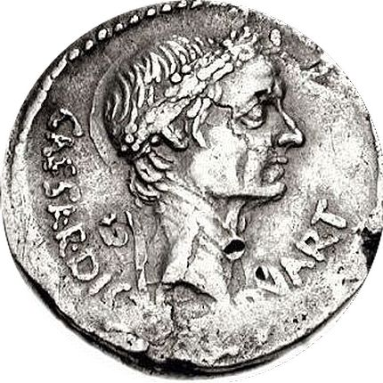 Similar coin. Here the head is not as long as in the past ones. The forehead is rounder and now it does not slant backwards. The nose, the mouth, chin, and neck look like in the first ones.