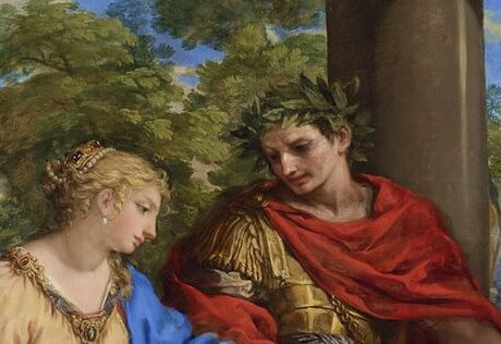 An oil painting from the 17th century. It shows a young Caesar in military attire leading Cleopatra to her throne.