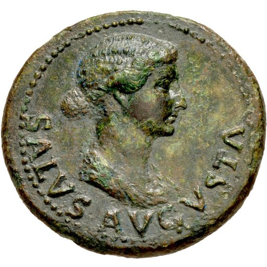 "A coin with Livia's face. Same profile. It says ""Salus Augusta."""
