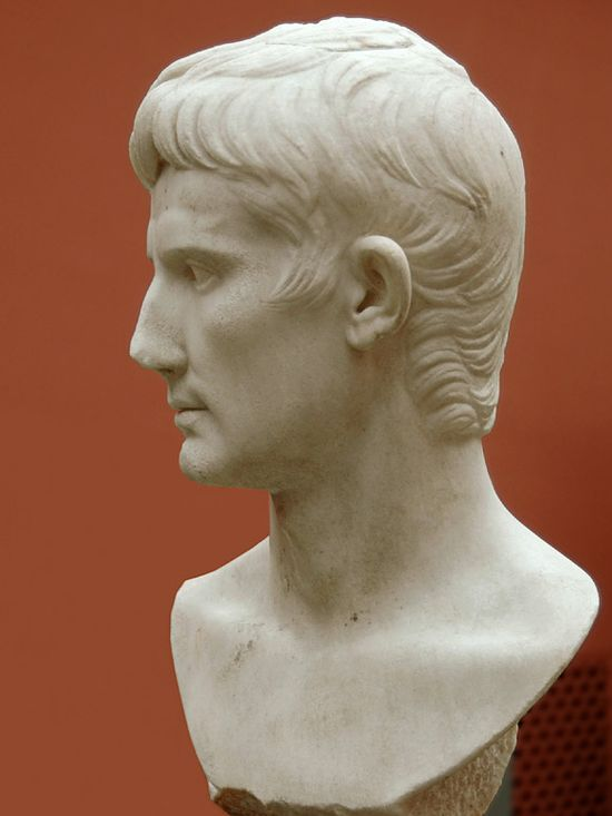 A marble bust. Classical good looks again. A more mature, anglish face. The mop of hair, the features of the face all on one plane when seen from the side (forehead, mouth, chin) with only the straight, long nose protruding.