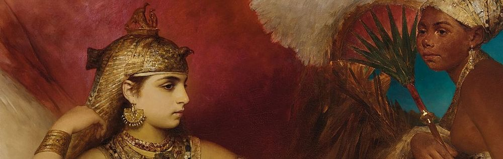 Oil painting of a young reclining Cleopatra. She is in elegant Egyptian garb.