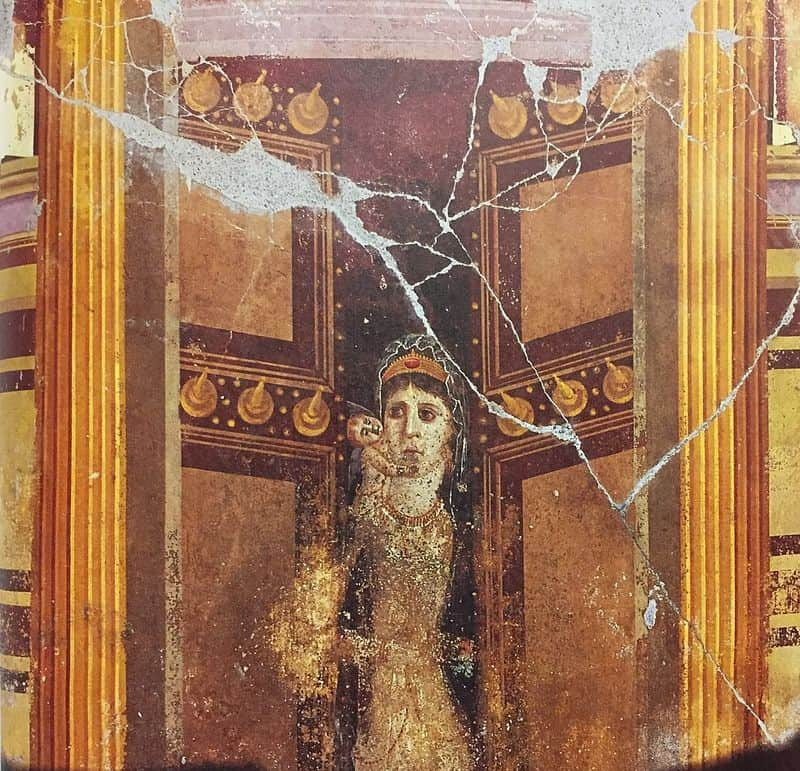 The same painting seen from further back. The woman wears a golden thin dress. She is coming out of what seems to be a temple flanked with columns.