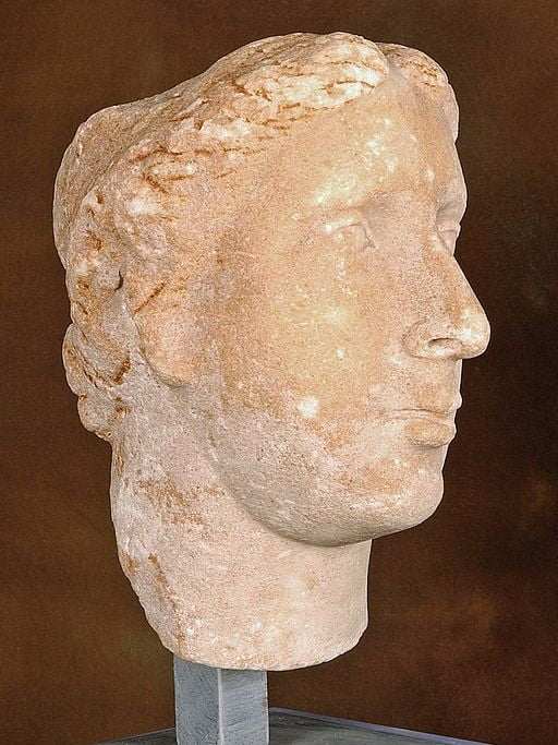 Face of a woman. The statue is quite worn. Her hair parts in the middle, she has a small forehead, a big, aquiline nose, medium-sized mouth, a medium-sized rounded chin. Her face is oval. she does not have strong angles.