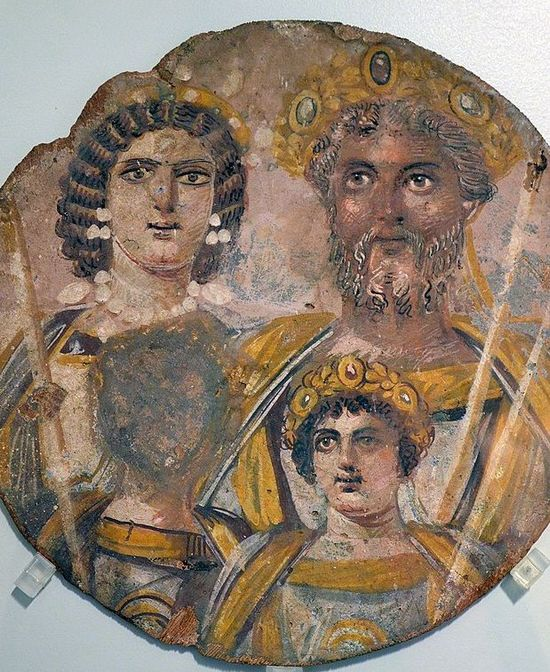 An ancient fresco painting. It shows a family: the parents and two children. The man, Severus, looks very much like the previous illustration. He has tanned skin.