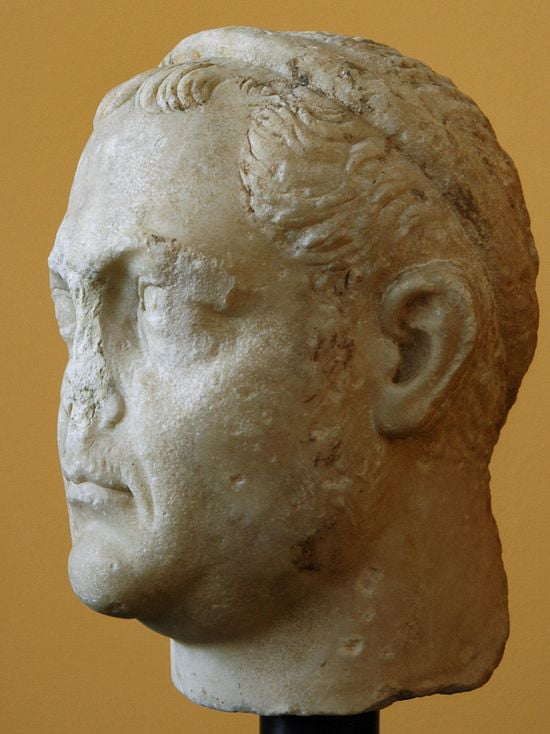 Same statue from the side. The nose is missing. The forehead is very high, straight and slants backwards. The cheekbones are high, the mouth and chin sit on the same plane.