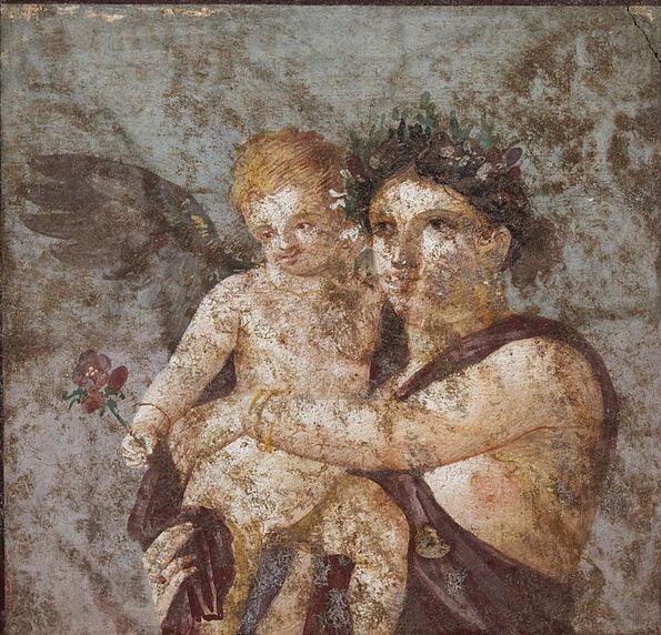 pompeii frescoes Casa Lucio Cecilio Giocondo maenad cupid 1 1