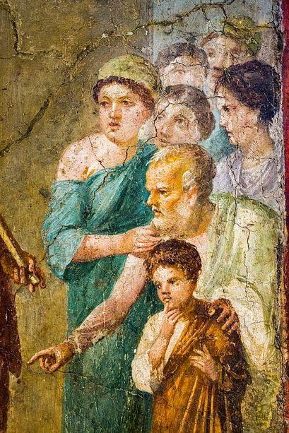 pompeii frescoes House Gavius Rufus theseus liberator detail 1