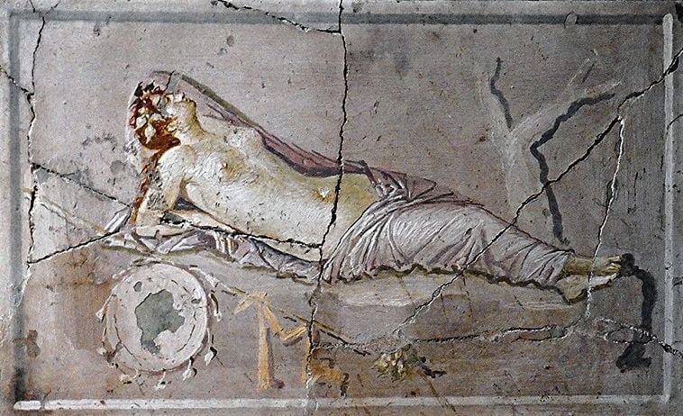 pompeii frescoes house golden bracelet sleeping nymph 1 1