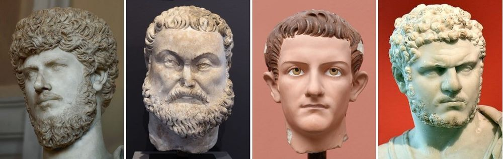 The faces of four men. From left to right: Lucius Verus, Maximian, Caligula, Caracalla.