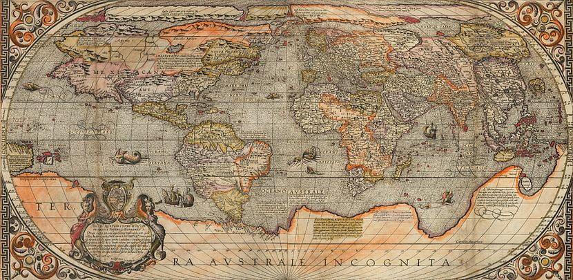 World map. America's shape is funky again.