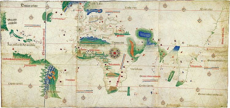 On the right, this map shows the outline of the Old World. Europe and Africa look pretty much like they do in modern maps. Asia's shape is still smaller and inaccurate. On the left of the map are some disconnected islands and shores.