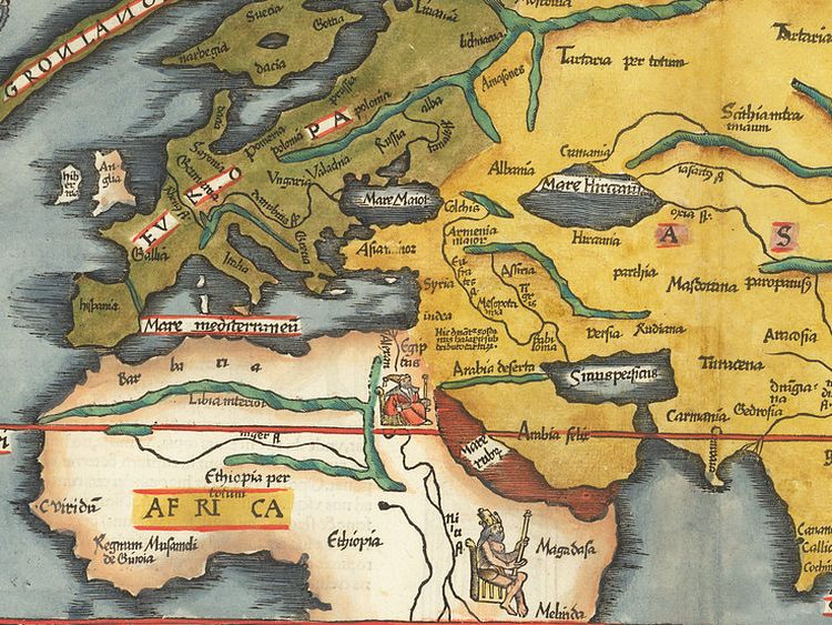 The same map. A close-up of the Mediterranean region that shows the names of the countries in Europe and regions in Asia and Africa.