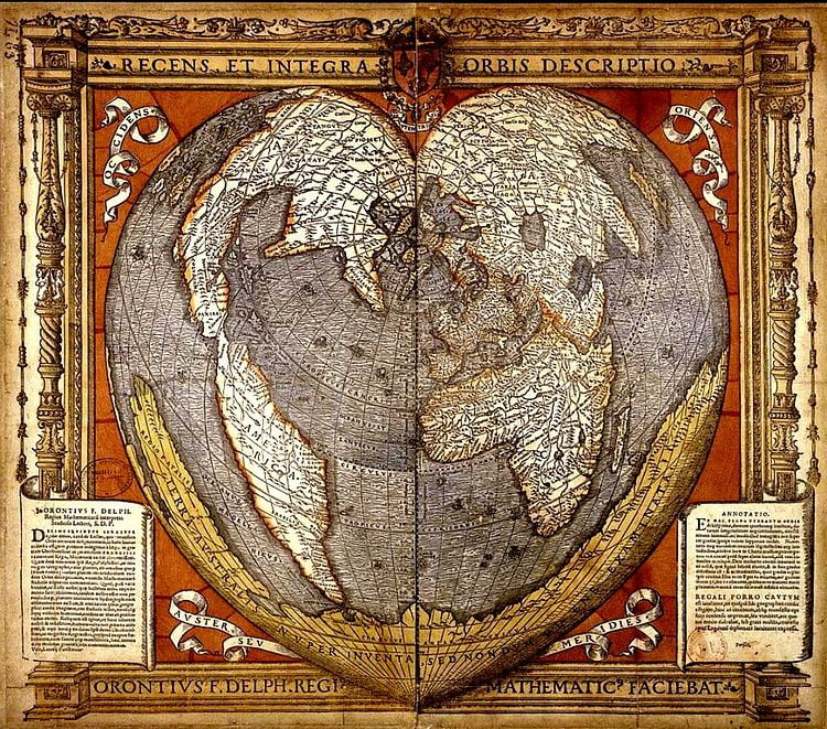 A heart-shaped map. The Americas are on the left, the Old World on the right. They are connected at the top.