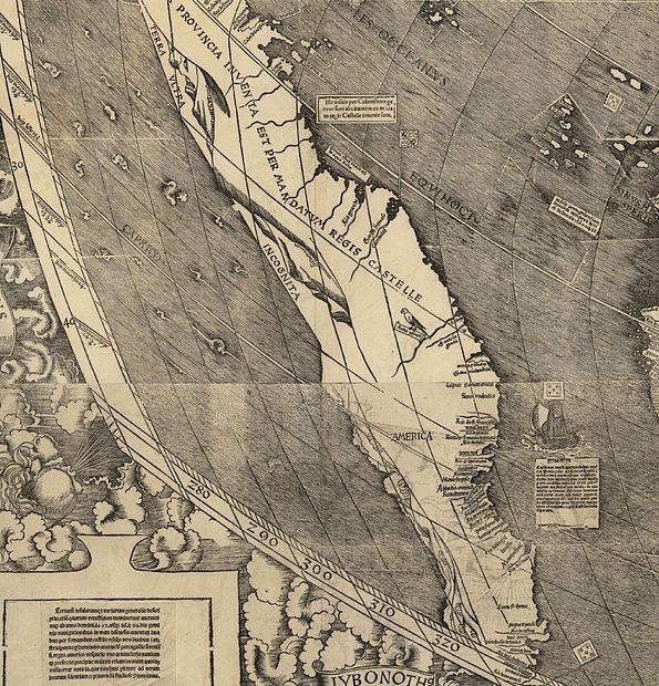 Close-up of south America. It looks like a big, elongated island. It reads 'America.'
