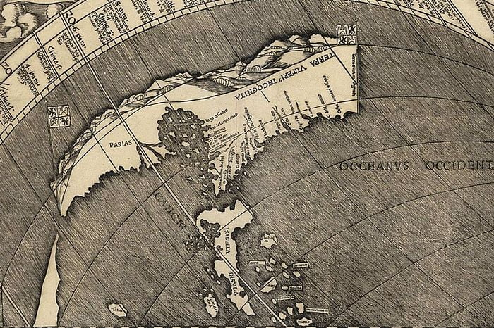 Close up of the northern island of the New World. It reads 'Parias.'