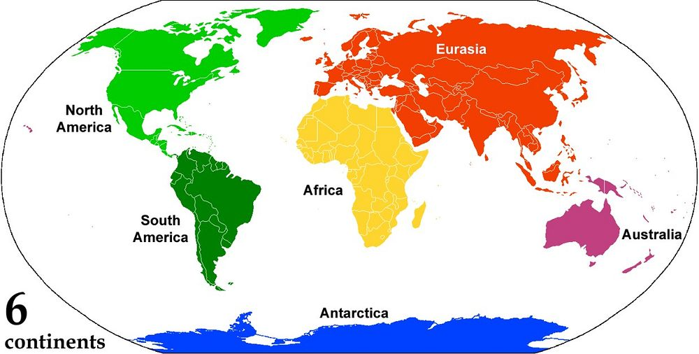 Almost the same map. It still reads: 6 continents. Like before, Australia is in purple, Africa in yellow, Antarctica in blue. But Euroasia is back to being one continent while America has split in two.