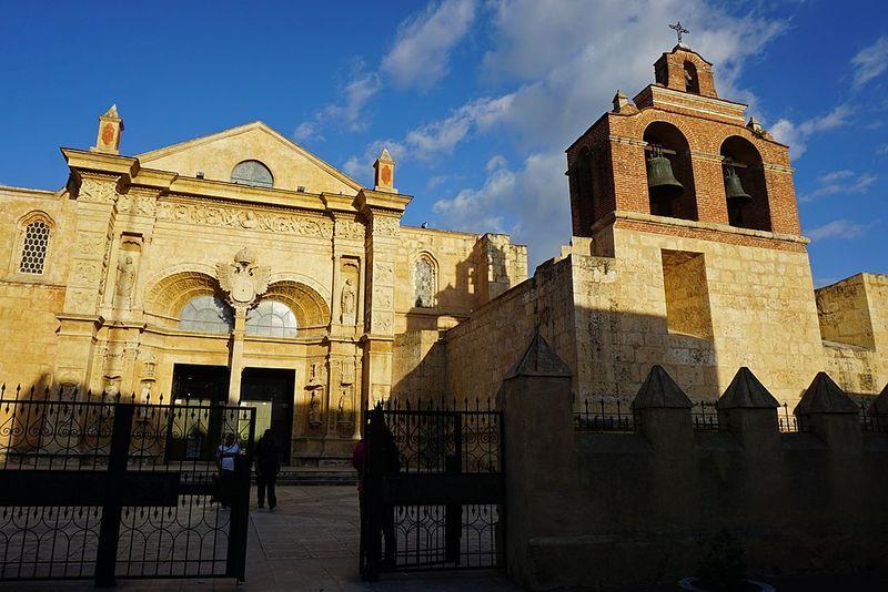 The facade of a brown stone church.